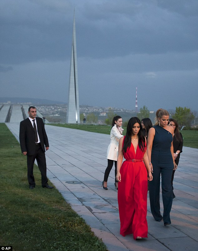 Ancestral roots: Khloe accompanied sister Kim, Kanye West and little Nori on an eight day adventure in Armenia visiting the historic sites including the Armenian Genocide memorial in Yerevan on April 10