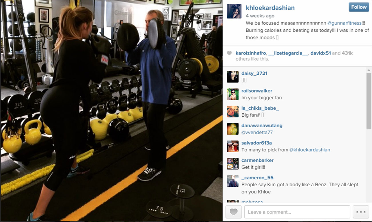 Khloe works out with Gunnar