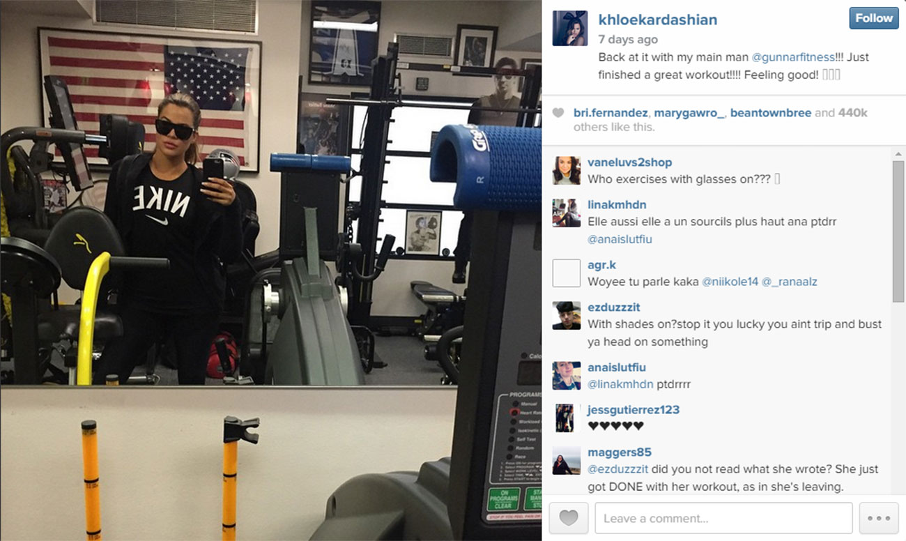 Khloe stops for a selfie at Gunnar's gym