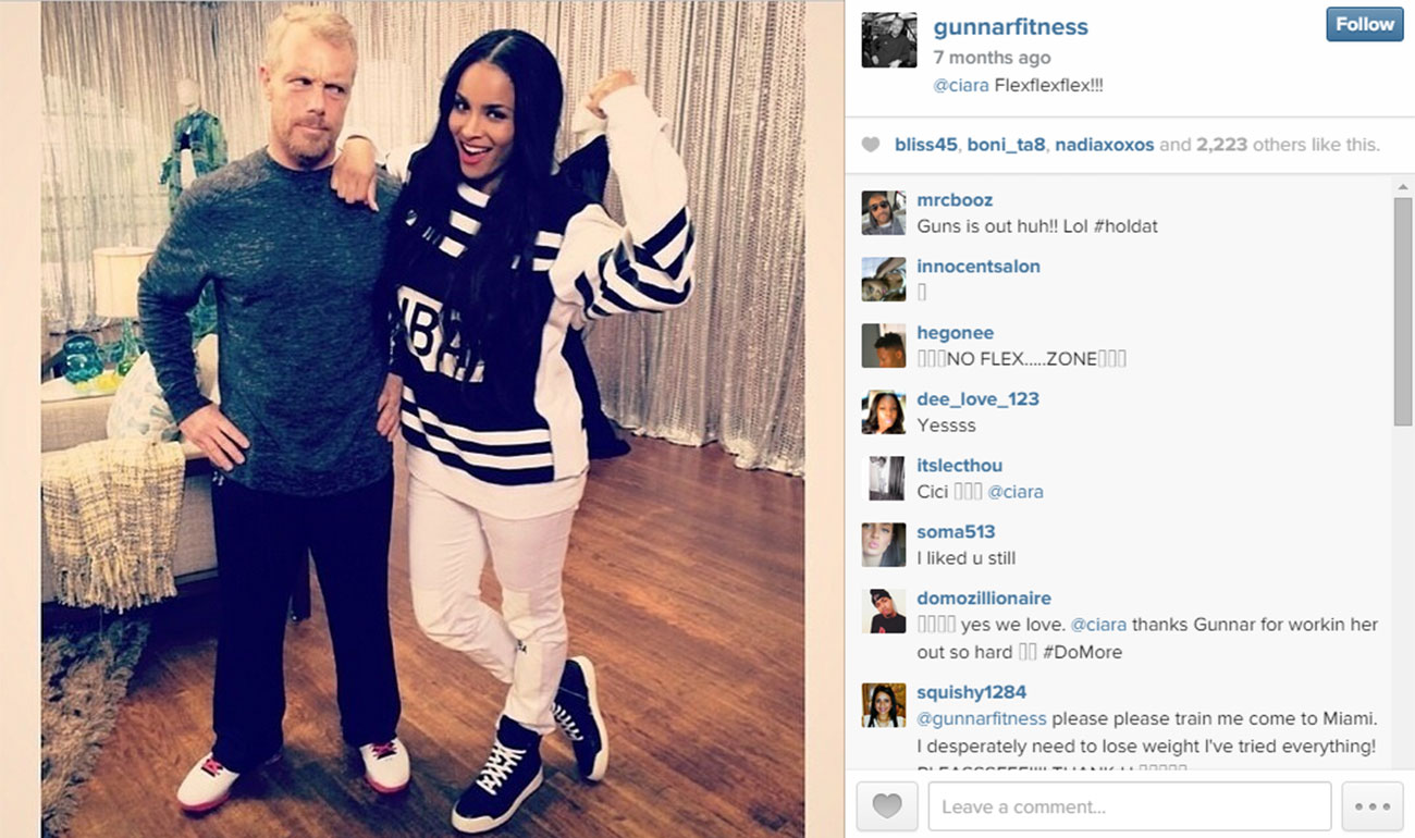 Singer Ciara poses with Gunnar Peterson